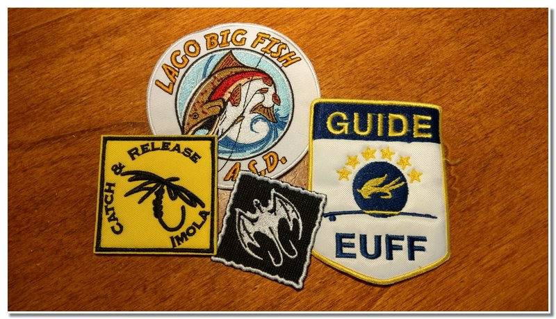 Queste sono le patch da Istruttore di pesca wildfly.it, membro Catch & Release Imola, Istruttore di pesca ASD Big Fish  Bologna, Istruttore e Guida di pesca European Union of Fly Fishers